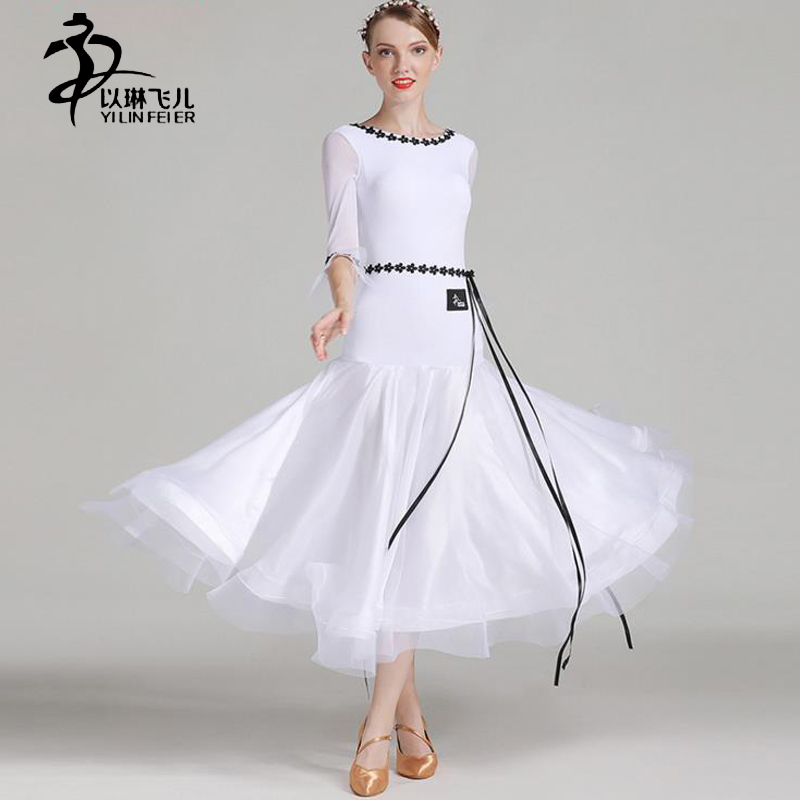 Pure Color Ballroom Competition Dress Women Waltz/ Tango/ Foxtrot Horn Sleeve Dress Girls Ballroom Standard Costumes