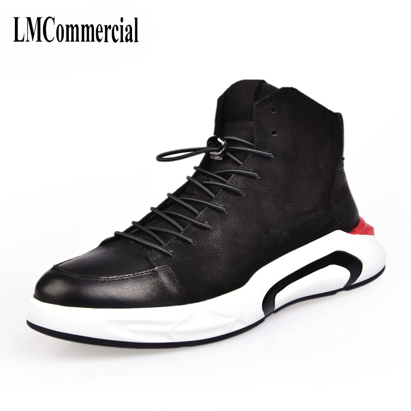 Male leather high shoes new Korean all-match cowhide cashmere shoes boots black velvet breathable boots men casual boots