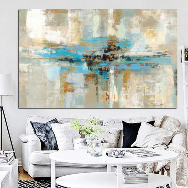 hd print wall art canvas light blue brown modern abstract oil painting bedroom wall picture for
