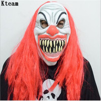 2018 Scary Clown Mask Red Hair Big Mouth Full Face Horror Masquerade Adult Ghost Party Mask Halloween Props Costumes Fancy Dress