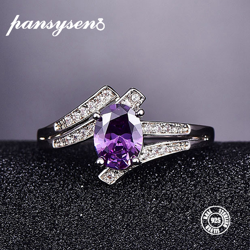 PANSYSEN 925 Sterling Silver Rings Female Amethyst Engagement Wedding Band Bridal Vintage Gemstone Ring For Women Fine Jewelry