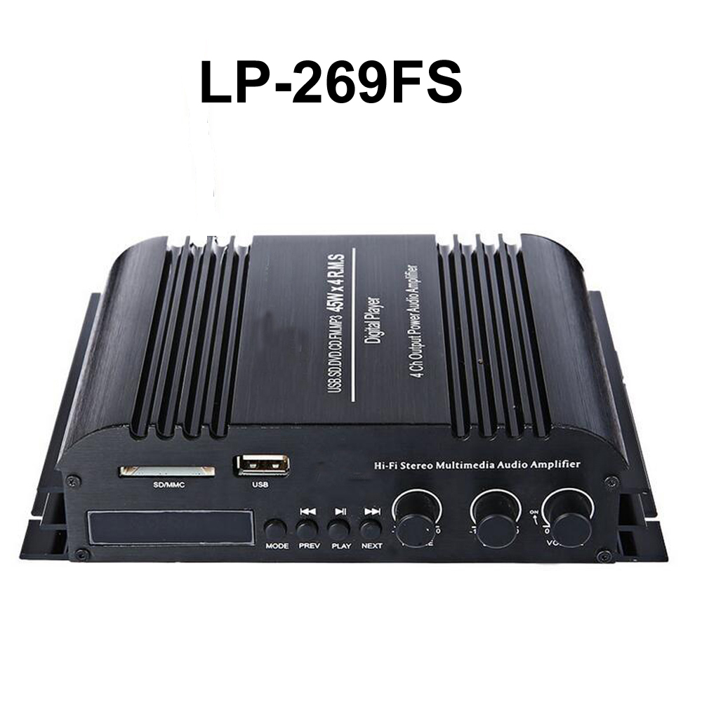 Lp 269fs mini car amplifier with remote control fm usb sd mp3 player radio function