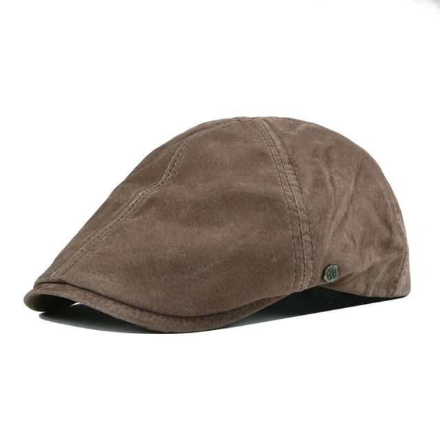 VOBOOM Suede Leather Flat Caps Newsboy Cap Men Women Frosted Nubuck Pigskin Gatsby Baker Hat with Lining 153