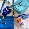 Королевский синий натуральный мех карл монстр мешок Сумочка ошибка очарование тег помпоном брелок Роскошные настроить рюкзак сумка шарм кулон