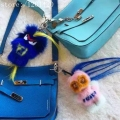 Royal blue real fur karl monster bag bug  Handbag charm tag pompom  key chain Luxury customize backpack tote bag charm pendant