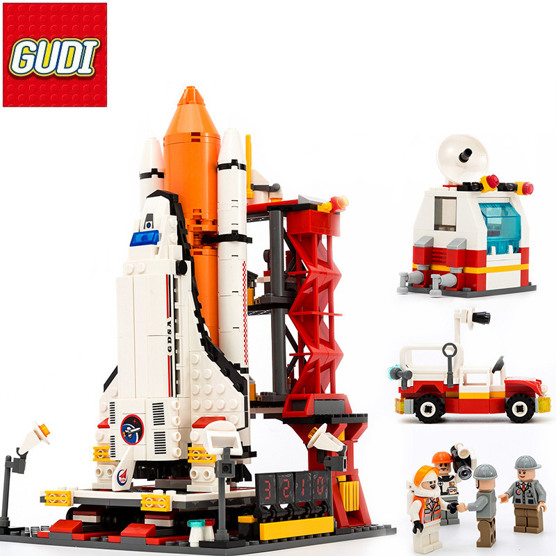 GUDI Aerospace Building Blocks 679pcs Space rocket Launch center Building Blocks Educational Toys For Children Enlighten Lepin