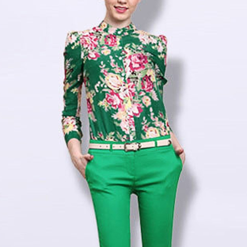 hot 2018 autumn fashion blouses vintage Floral pattern long sleeve stand neck button elegant lady blouses tops