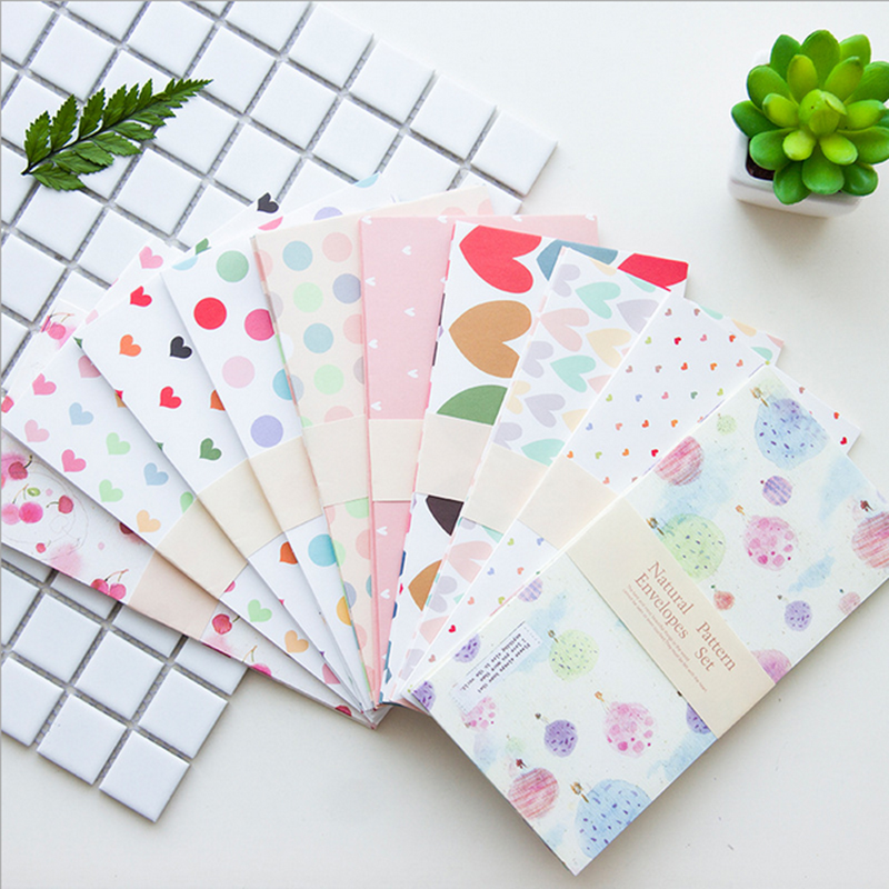5pcs/lot Romantic Cartoon Flowers Envelope Writing Paper Stationery Kawaii Birthday Christmas Cpostcard Gift Cards To Friends