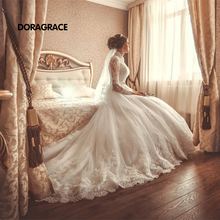 New Arrival Gorgeous Applique Lace High Neck A Line Long Sleeve Wedding Dresses Designer Gowns DG0070