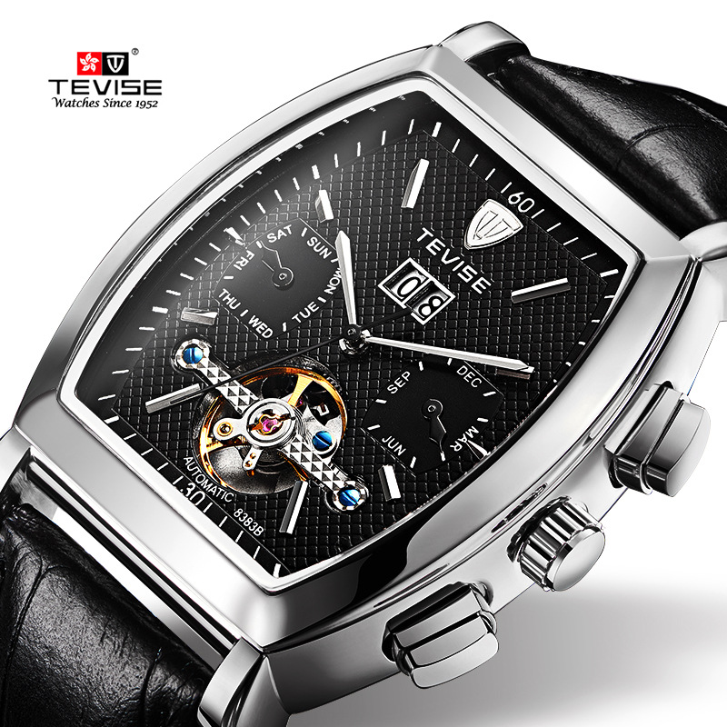 TEVISE High Quality Tourbillon Automatic Mechanical Watches Men Self Wind Business Genuine Leather Calendar Wristwatches 8383B tevise men automatic self wind mechanical wristwatches business stainless steel moon phase tourbillon luxury watch clock t805d