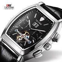 TEVISE Hoge Kwaliteit Tourbillon Automatische Mechanische Horloges Mannen Zelf Wind Business Lederen Kalender Horloges 8383B