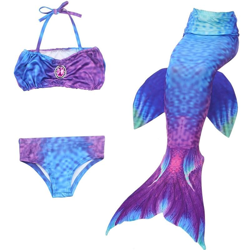 2019 New Mermaid Tail Costume Girls Swimming Suit Bikini 3pcs Dress Children Kids Swim Suit No Flipper