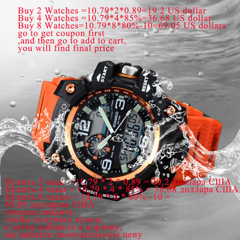 Men Sports Watches BOAMIGO Brand Digital LED Orange Shock Swim Quartz Rubber Wristwatches Waterproof Clock Relogio Masculino 1