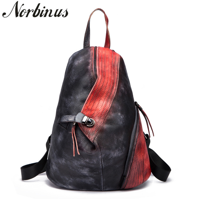 Norbinus Vintage Unisex Rucksack Travel Daypack Casual School Bags For Teenager Girls Cowhide Women Genuine Leather Backpack New quik lok mp891