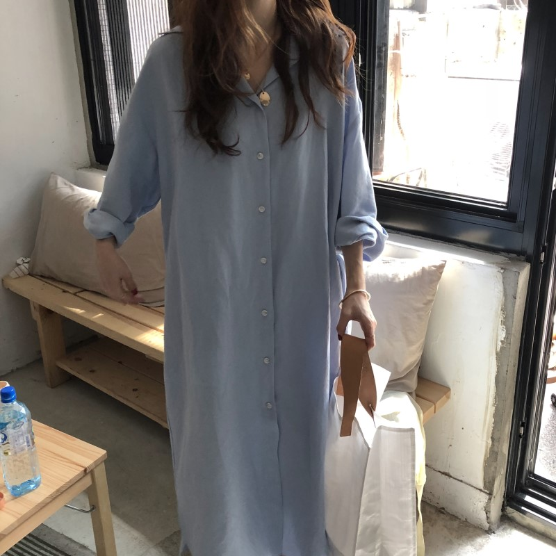 Blue Long Sleeve Long Shirt Dress Spring Casual Patchwork White cotton Dresses Collar Buttons Loose Dresses Robe Femme Vestido 9