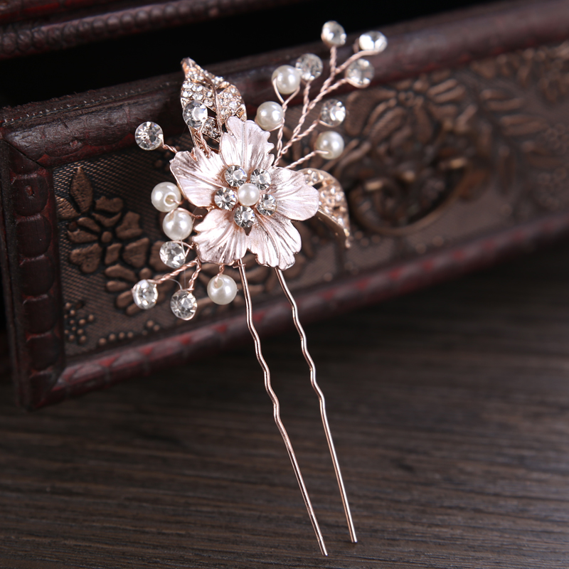 Handmade Wedding Hair Pins Bridal Accessories Rhinestone Rose Gold Leaf Crystal Hairpin Clips Comb Hair Jewelry Aliexpress