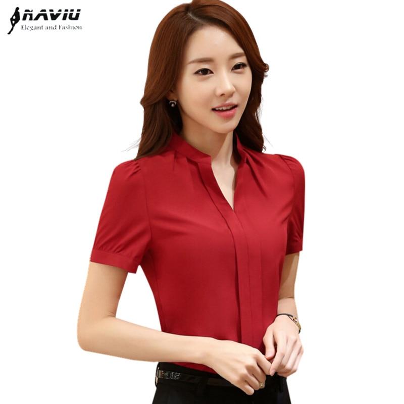 89dd499bc78 Summer elegant women blouse white red black OL slim V-Neck short sleeve  chiffon shirt