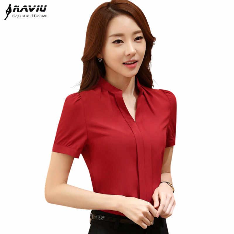 12ec7aade4f Летняя элегантная женская блузка белый красный черный OL Тонкий v-образный  вырез короткий рукав шифоновая