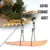 Outdoor Water Sports Kayak Storage Hoist Garage Ceiling Mount Canoe Lift Ladder Lift 125 lb Capacity Kayak Storage Hoist