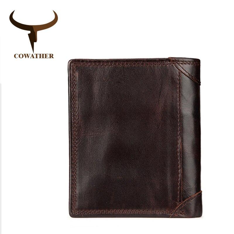 COWATHER mode en cuir de vache hommes portefeuilles titulaire de la carte en cuir homme bourse avec inférieure de fermeture éclair café avec cadeau wrap bag