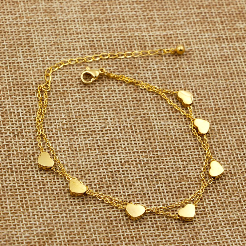 Super Lovely Seven Hearts Rose Gold Double Chain Anklet Titanium Steel Anti Allergic Anklet Jewelry Woman Kid Best Gift leaf shaped beaded detail chain bangle anklet