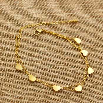 Super Lovely Seven Hearts Rose Gold Double Chain Anklet Titanium Steel Anti Allergic Anklet Jewelry Woman Kid Best Gift
