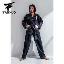 Yeni yetişkin erkek siyah nefes pamuk Taekwondo üniforma Taekwondo Dobok takım elbise