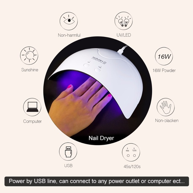 SexyMix Nature1 Nail Dryer 16W UV LED Nail Lamps Smart Sensor 45/120s Time Setting Machine for Curing UV Nail Gel USB Connector 4