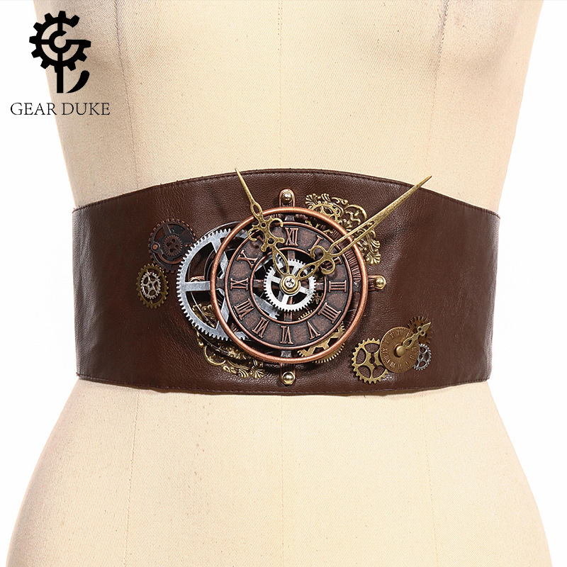 GearDuke Vintage Gothic Steampunk Women Decorative Belt Versatile Belt  Corset Belt Women's Waist Trimmed Brown Leather Harness