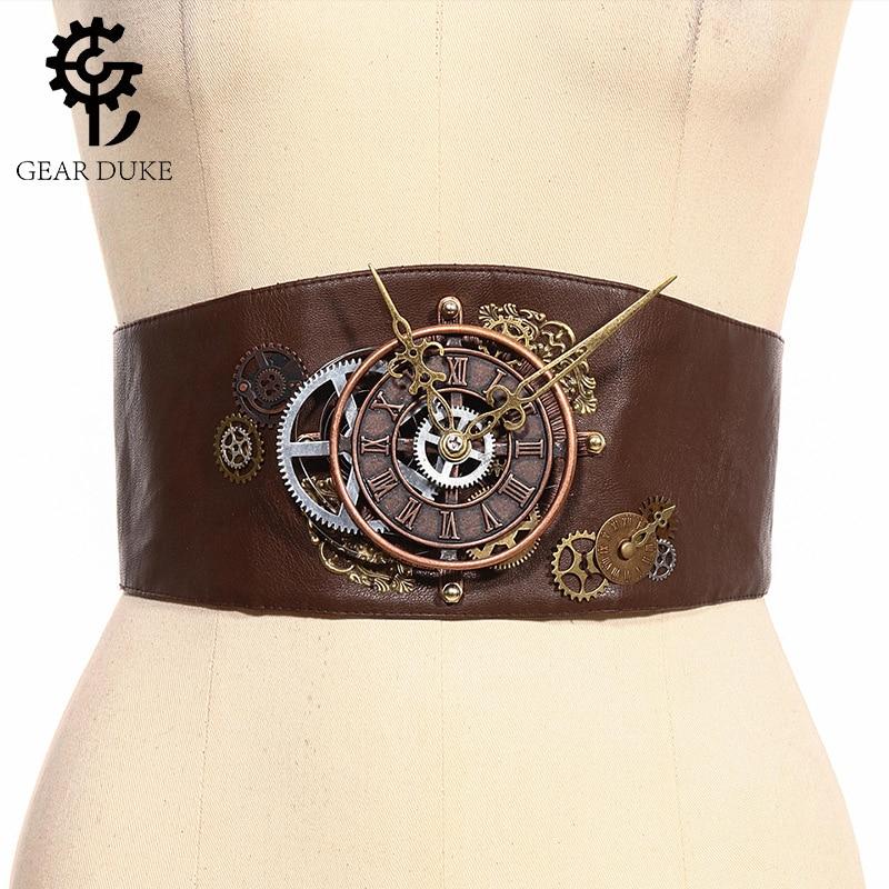 GearDuke Vintage Gothic Steampunk Women Decorative Belt Versatile Belt  Corset Belt Women's Waist Trimmed Brown Leather Harness