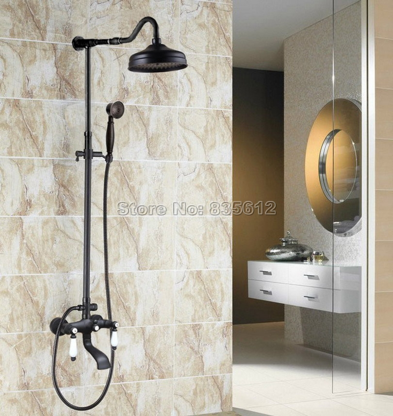 Classic Black Oil Rubbed Bronze Bath Tub Mixer Tap Bathroom Wall Mounted Dual Ceramic Handles Rain Shower Faucet Set Whg643