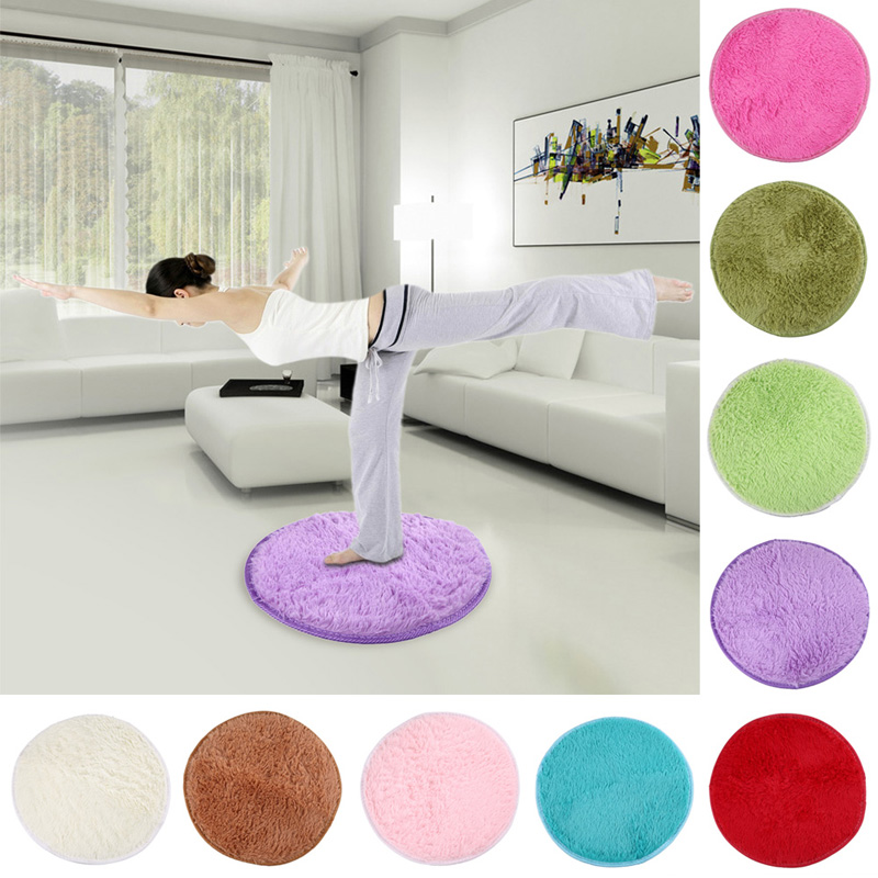 New 42cm Home Decor Bedroom Mat Door Floor Carpet Puzzle Fluffy Round Foam Rug Non