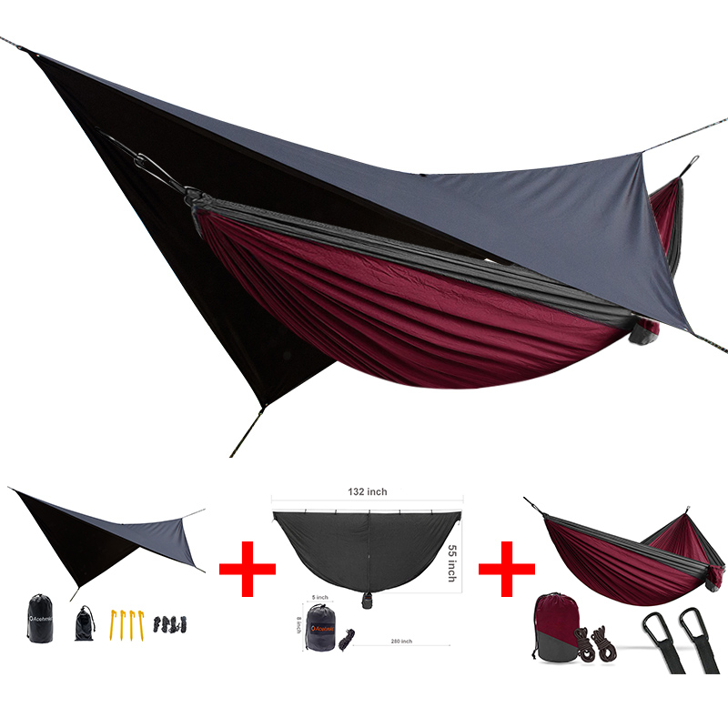 portable double person hammock  waterproof rain tarp can be used as a mat easy to set mosquito net 3 in one packetportable double person hammock  waterproof rain tarp can be used as a mat easy to set mosquito net 3 in one packet