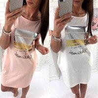 2017 Nóng Bán! trắng Hồng Rắn Vàng Bạc Sọc NẾU KHÔNG PHẢI BÂY GIỜ SAU ĐÓ KHI Letter In Summer Mini Dress Thanh Lịch Đầm Phụ N