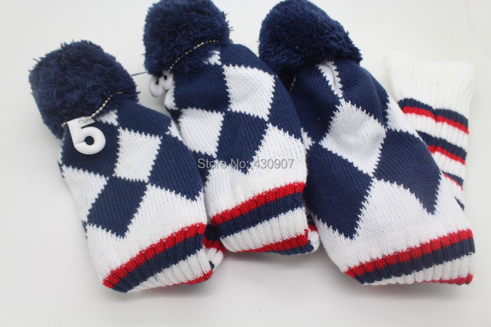 1 3 5 One Set New Pom Pom Head Covers Knitted Sock Navy Blue Golf Club Cover Headcovers Club Covers Pom Pom Head Covershead Cover Aliexpress