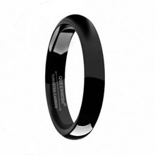 4mm Polish Black Dome Tungsten Carbide Ring Fancy Engagement Rings Unisex
