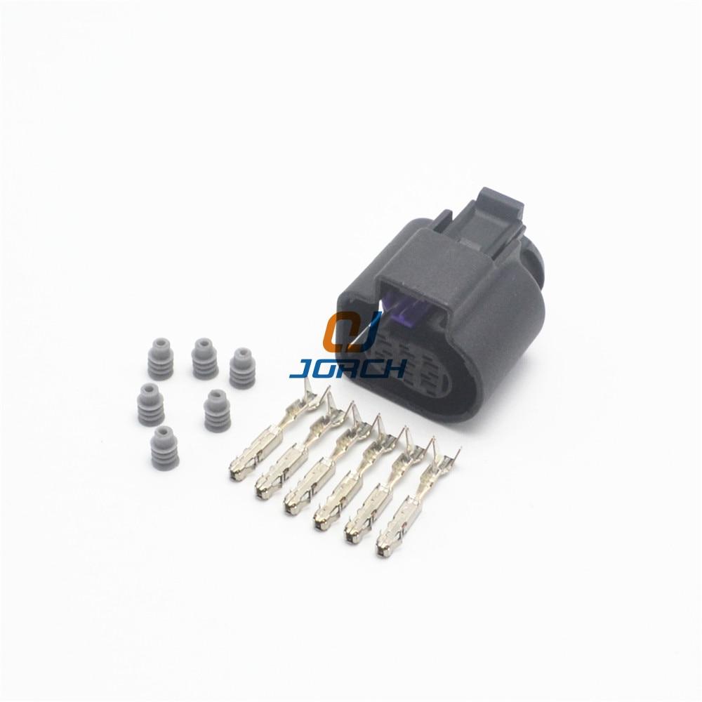 2 Sets 6 Pin Auto Waterproof LSU 4.9 Wide Band Oxygen Sensor Connector 1928404669 Throttle Plug For VW AUDI 4H0973713