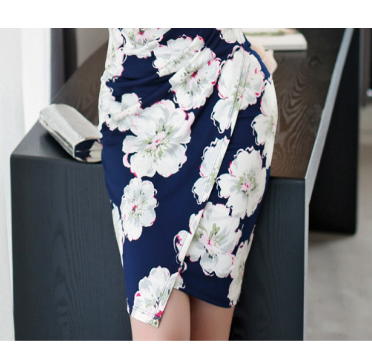 Elegant Sheath Floral Pencil Bodycon Dress