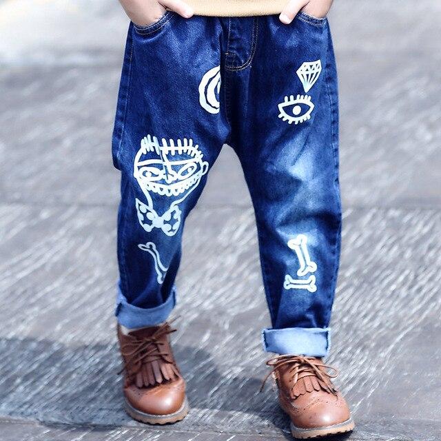 high quality fashion 2017 children jeans for boys kids scrawl pattern denim pants clothing children baby little big boy jeans