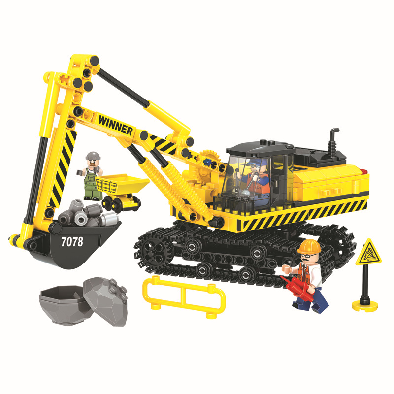 WEILE City Construction Team Excavator Building Blocks Sets Bricks Model Kids Gifts Toys Compatible Legoings 196pcs building blocks urban engineering team excavator modeling design