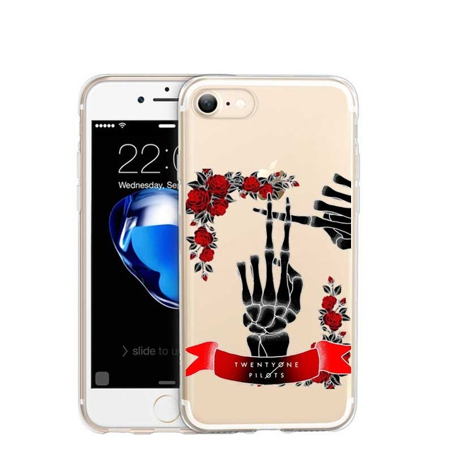online store 357c7 6db24 US $3.95 |Phone case Twenty One Pilots Collages Transparent soft silicone  TPU Cases for iPhone 5 5S SE 6S 6S 6Plus 7 7Plus Pattern Coque on ...