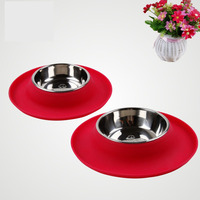 Silicone Dog Bowl Stainless Steel Durable Pet Bowls Dogs Food Container Mascotas Platos Bottles Cachorro Animal Supplies 50Z0564