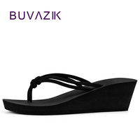 Pu Rubber Slip On Casual Plain Fashion Sandals Shoes Beach Flat Wedge Flip Flops Lady Slippers