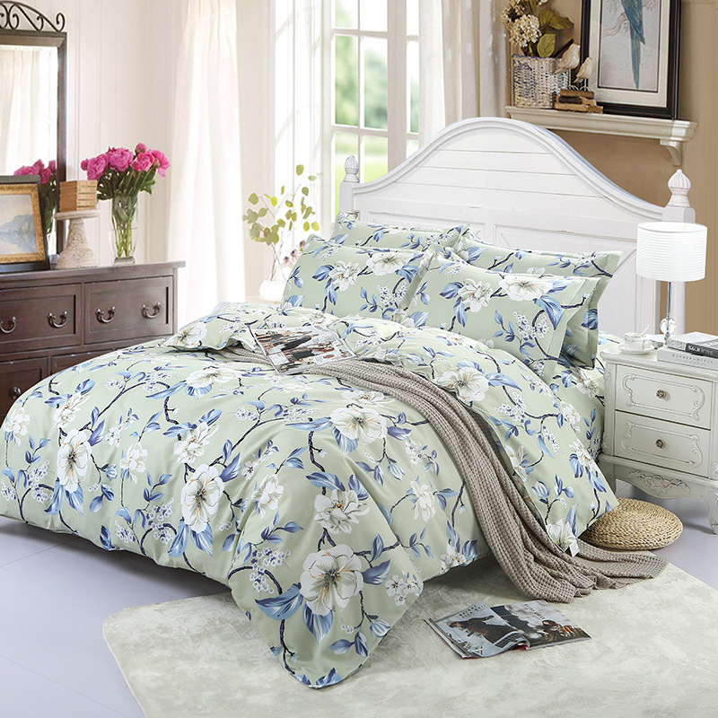 Ms.O Home Textile Duvet Cover American Countryside Floral Plaid Natural Printed Classic Designer Bedding Set Bedroom Bed Linen