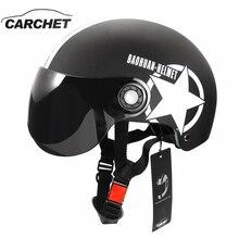 CARCHET Motocicleta Medio Casco de La Cara Abierta Cascos de Protección del Cabezal de Engranajes de Tamaño Ajustable Unisex Estrella de Cinco puntas Negro Rojo Más Nuevo