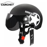 CARCHET Xe Máy Mũ Bảo Hiểm Nửa Úp Mở Tùy Chỉnh Kích Cỡ Bảo Vệ Đầu Bánh Mũ Bảo Hiểm Unisex Sao Năm cánh Màu Đen Red Mới Nhất