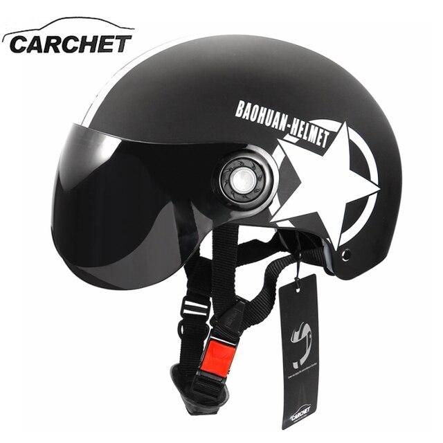 Carchet мотоциклетный шлем половина открытый регулируемый размер защиты передач возглавить шлемы унисекс нью-пятиконечная звезда черный красный