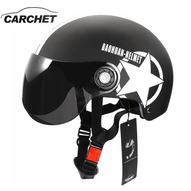 Prix pour Carchet moto casque demi face ouverte réglable taille protection gear tête casques unisexe étoile à cinq branches noir rouge date