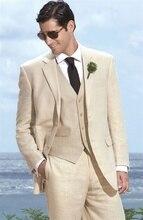 2017 Latest Coat Pant Designs Champagne Ivory Linen Men Suit Casual Beach Groom Custom Simple Tuxedo 3 Piece Traje de Novio L81