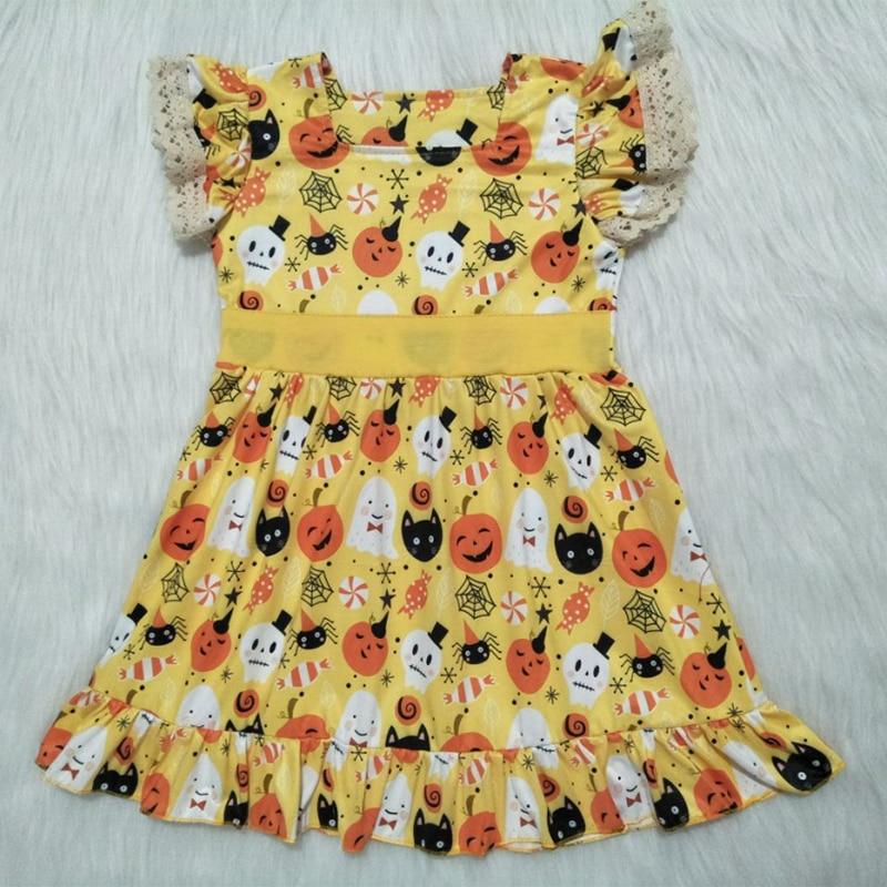 Bebê Recém-nascido da criança Meninas Vestidos Tutu Partido Fantasma Da Abóbora De Halloween Vestido De Princesa Roupas de Bebê Menina Verão